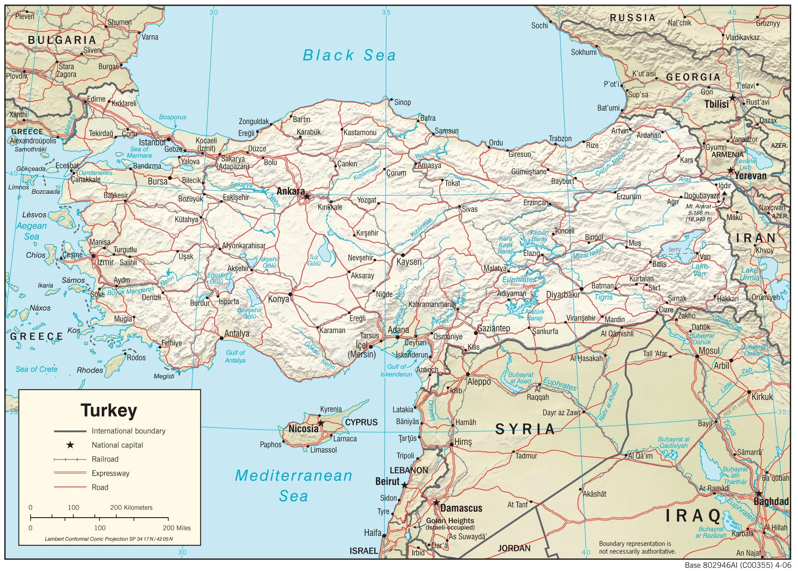 Turkije Landkaart Turkey Map Plattegrond Kaart Alanya Ankara
